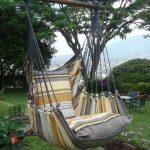 Accrochée à la branche d'un arbre, cette chaise hamac est idéalement placée