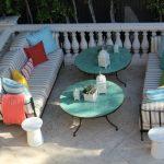 2 tables de jardin ronde bleu esprit cottage