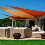 3 voiles ombrage terrasse declinaison de orange