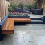 Banc de jardin design d angle en bois