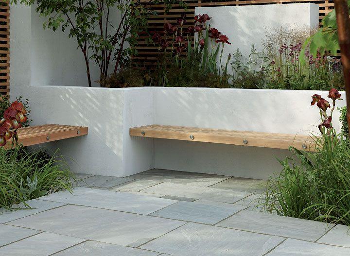 Banc De Jardin Design Planche De Bois Dans Muret Salon De Jardins