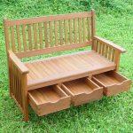 Banc de jardin en bois classique avec 3 tiroirs