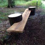 Banc de jardin en bois compose de deux buches ou une planche en bois est inseree