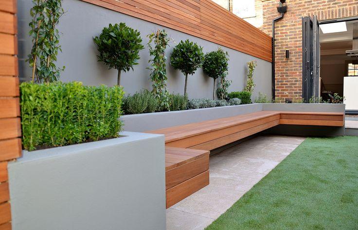 banc de jardin en bois moderne pour 10 personnes avec matiere beton brut pour s adosser salon. Black Bedroom Furniture Sets. Home Design Ideas