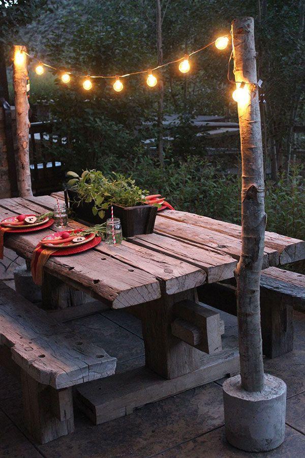 Banc de jardin en bois tres rustique pour table d exterieur ...