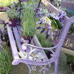 Banc de jardin fer forge peint en full violet