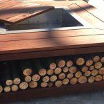 Belle table brasero bois avec rangement buches