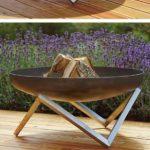 Brasero design pour terrasse en bois
