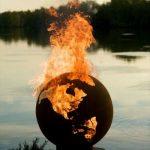 Brasero en forme de globe mappemonde