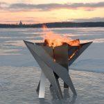 Brasero forme sculpture acier