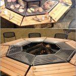 Brasero octogonal design bois et fonte pour faire griller
