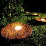 Eclairage led exterieur integre dans rondin bois