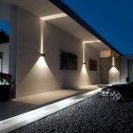 Eclairage led mural exterieur tres design sur facade et sol