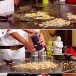 Grande plancha table exemple d une preparation de poulet frit