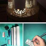 Idee eclairage led maison exterieur avec cylindres en pvc