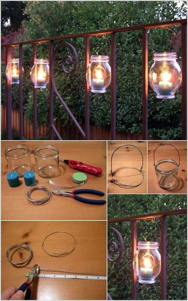 Idee lampe exterieur avec bocal et suspension