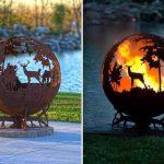 Joli brasero rond facon globe avec deco animaux et nature pour terrasse