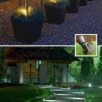 Lumiere exterieur 2 exemples eclairage sol pour allee et dans pot arbre olivier