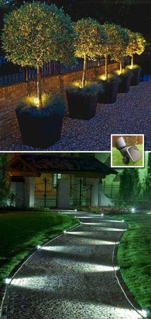 Lumiere exterieur 2 exemples eclairage sol pour allee et for Lumiere exterieur