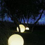 Lumiere exterieur marquage sol avec boules lumineuses