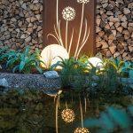 Lumiere exterieure avec boules a led et eclairage tableau lumineux motif pissenlit