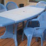 Mobilier bleu pour exterieur en plastique