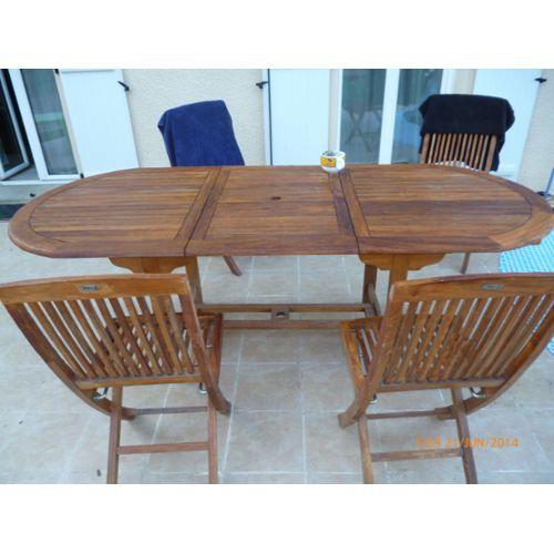 Mobilier de jardin table et chaises en bois - Salon de Jardins
