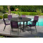Mobilier exterieur avec table de jardin ronde en plastique et ses chaises design