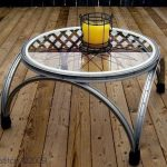 Originale table de jardin ronde en verre