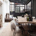 Table de jardin design esprit industriel bois et pieds fer