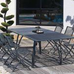 Table de jardin design gris pour 6 personnes