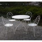 Table de jardin ronde blanche en fer forge