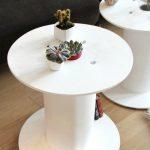 Table de jardin ronde bobine peinte en blanc epure