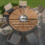 Table de jardin ronde bois avec ses chaises design
