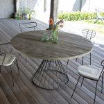 Table de jardin ronde bois et pied en fer