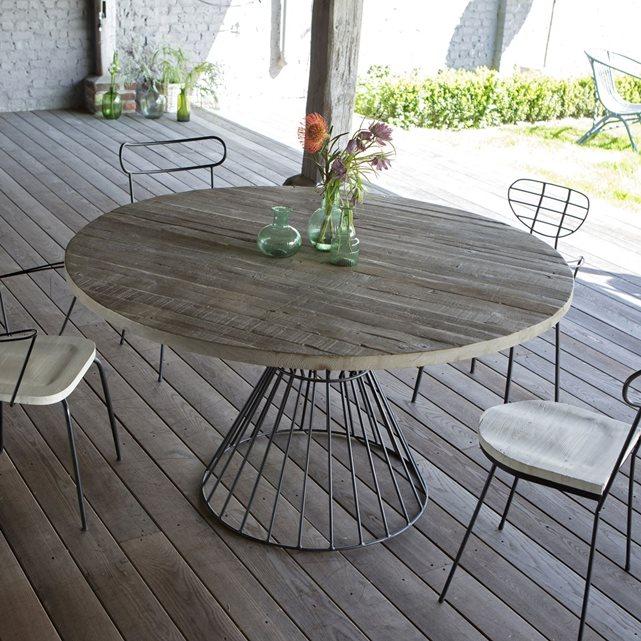 Table de jardin ronde bois et pied en fer - Salon de Jardins