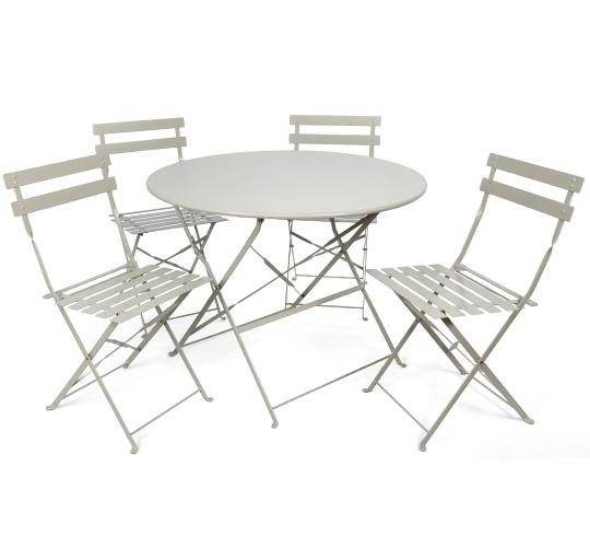 Table de jardin ronde en fer blanche salon de jardins - Table de jardin en fer ...