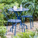 Table de jardin ronde fer bleu deux personnes