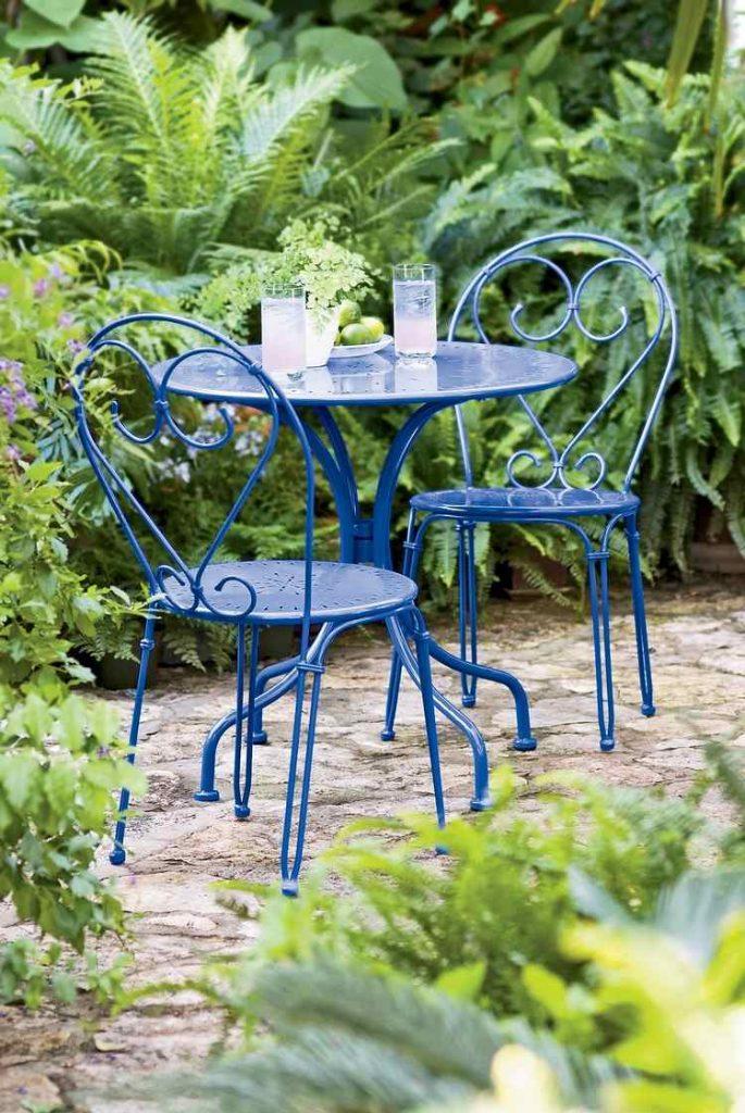 Table de jardin ronde fer bleu deux personnes - Salon de Jardins