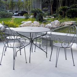 Table de jardin ronde grise en fer avec 4 chaises - Salon de ...