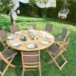 Table de jardin ronde moderne en bois pour 8 places