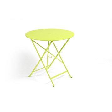Table de jardin ronde pliante jaune pale - Salon de Jardins