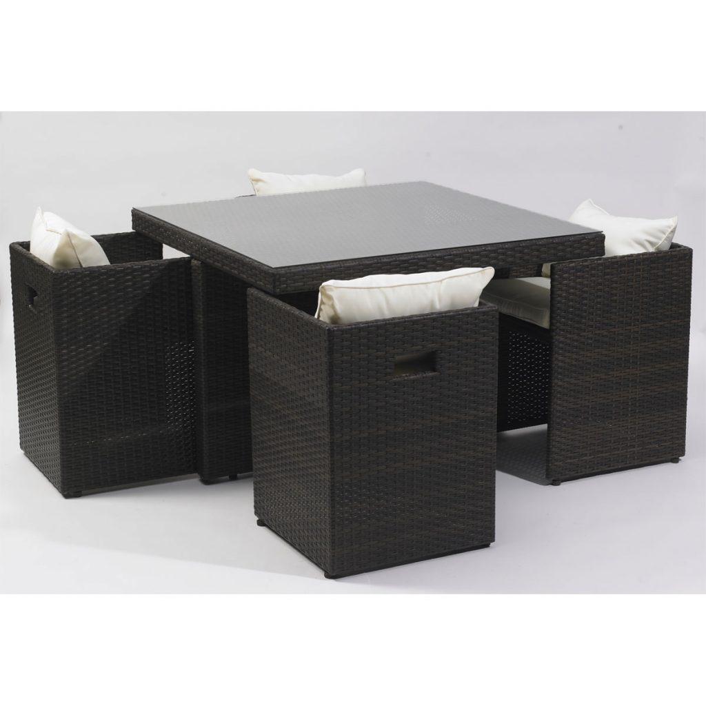 table exterieure resine avec 4 fauteuils avec coussins. Black Bedroom Furniture Sets. Home Design Ideas