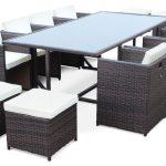 Table exterieure resine avec mobilier en resine tressee pour jardin pour 8