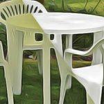 Table ronde pour exterieur en plastique avec 4 chaises