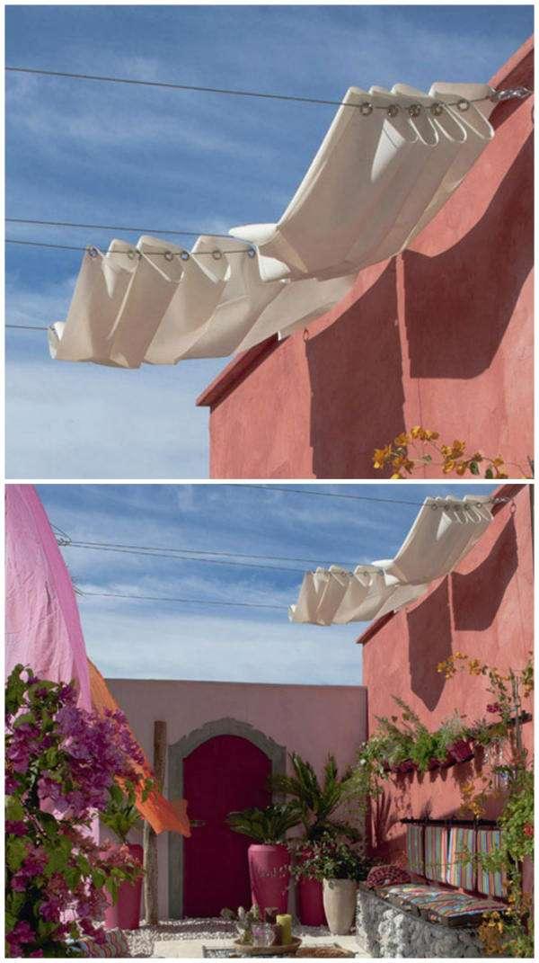 voile d ombrage non tendue blanche pliante salon de jardins. Black Bedroom Furniture Sets. Home Design Ideas