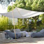 Voile rectangulaire blanc d ombrage mat pour salon exterieur
