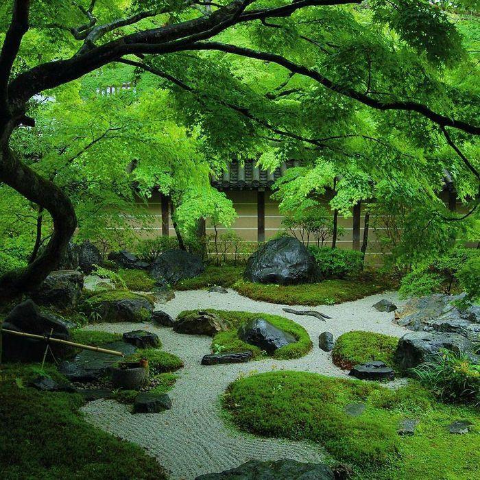 Jardin japonais fait de sable mousse et rochers - Salon de Jardins
